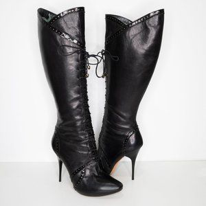Alexander McQueen Leather Lace Up Knee Hig…